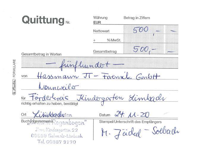 2020-11-24 – Spende Förderkreis Kindergarten Limbach